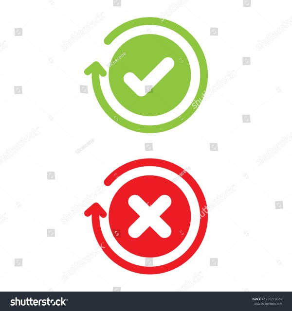 Check Mark X Wrong Stock Vector 706219624