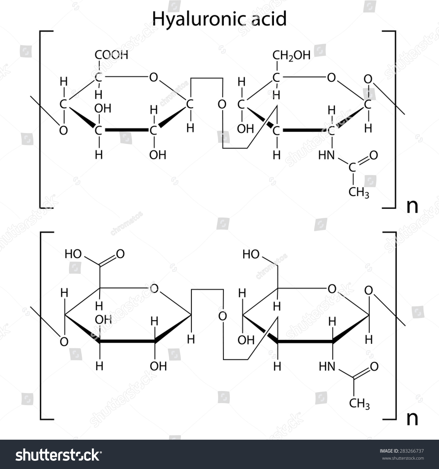 hight resolution of chemical formula of hyaluronic acid molecular structure 2d isolated vector eps 8