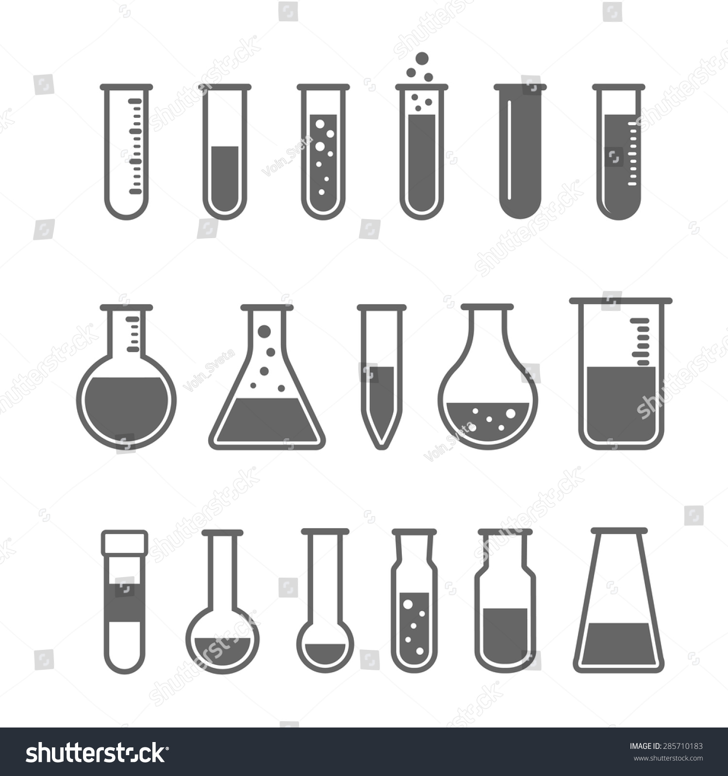 Chemical Test Tube Pictogram Icons Set Stock Vector