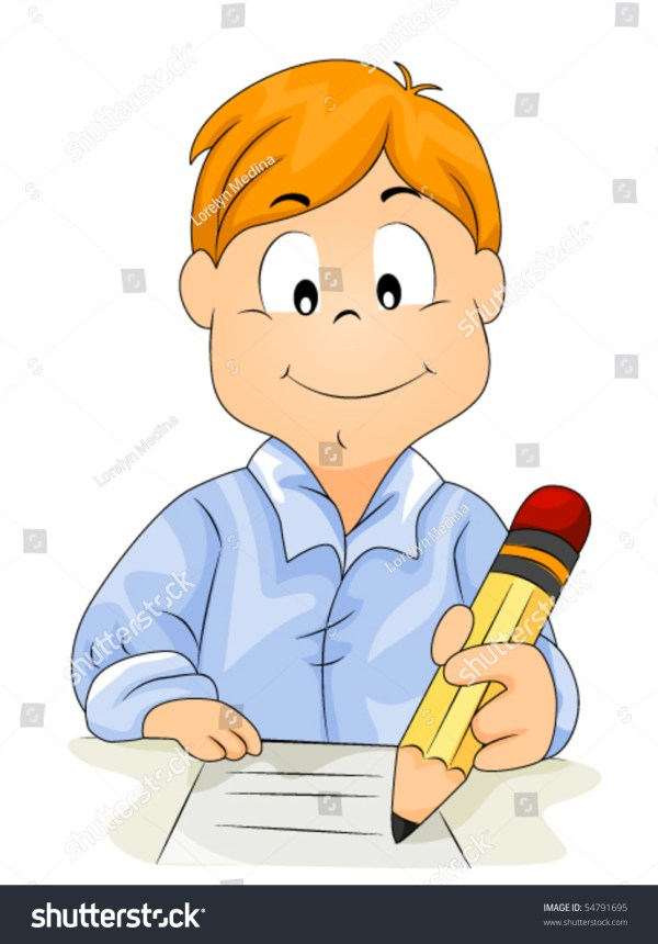 Child Writing Name Clip Art
