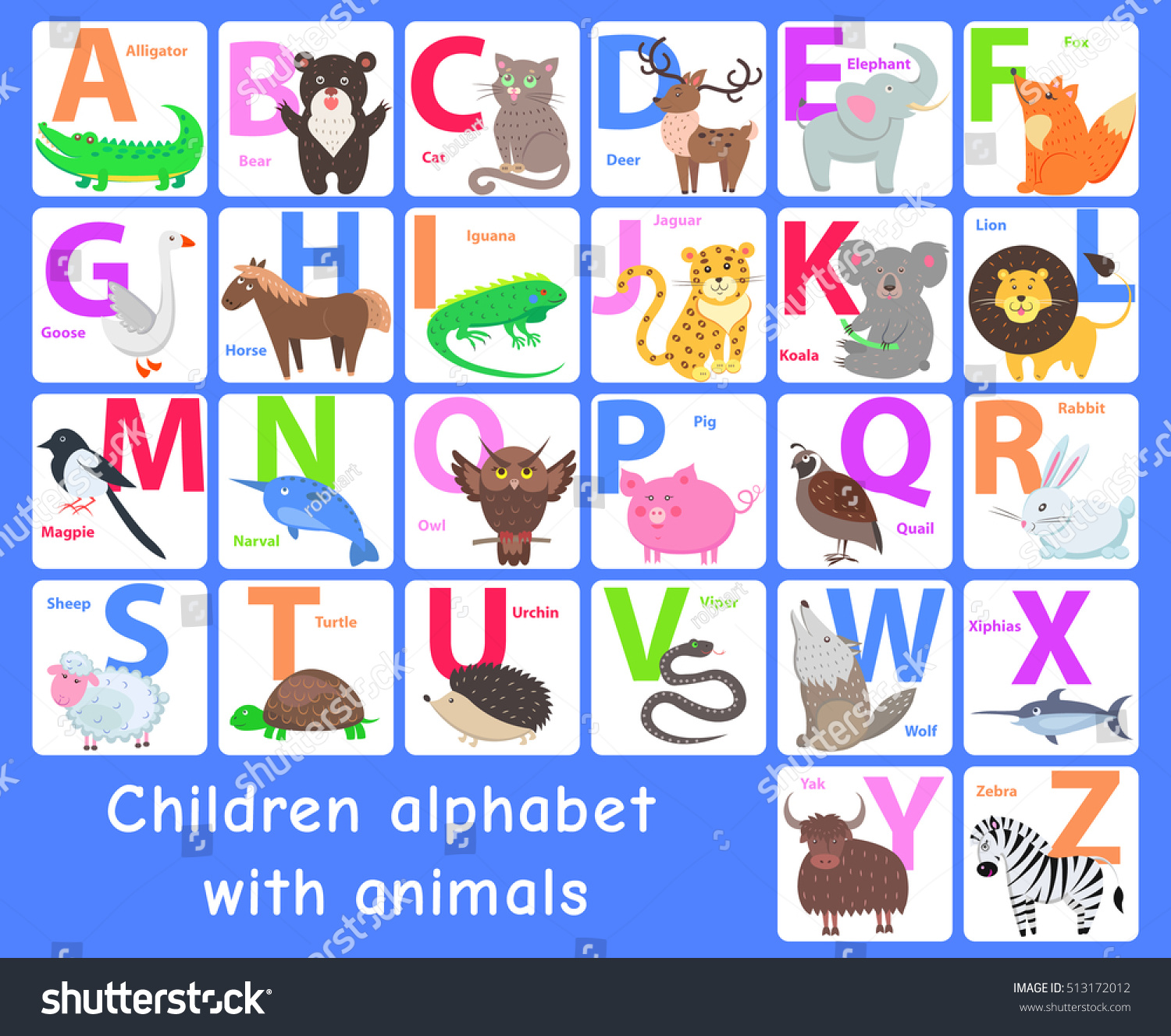 Children Alphabet Animals Letters A B Stock Vector