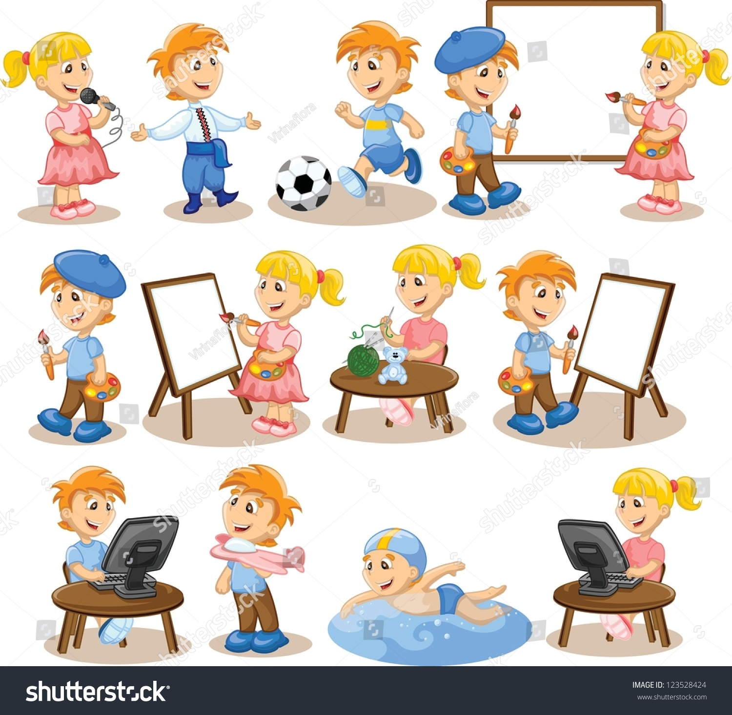 Children Engaged Hobbies Stock Vector