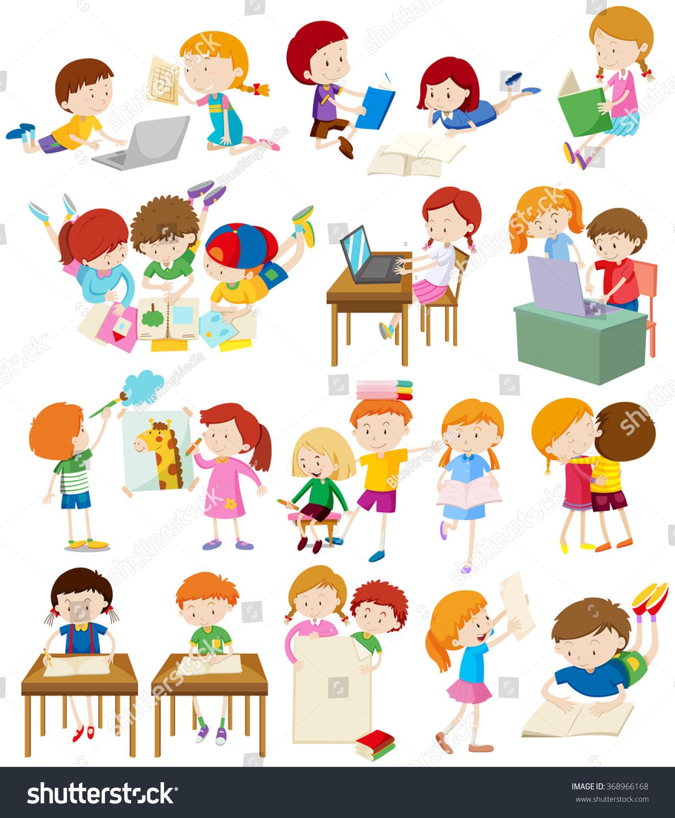 Children Doing Activities School Illustration Stock Vector