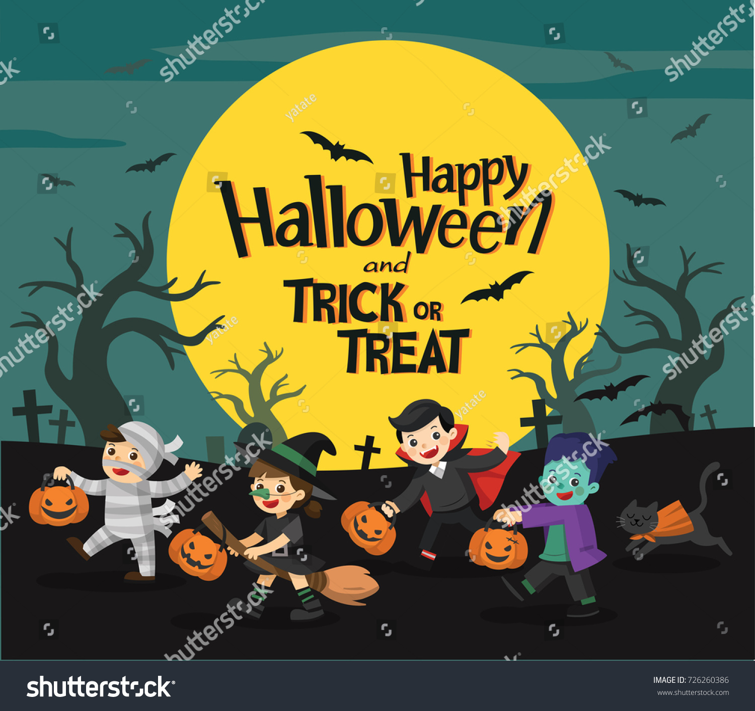 Children Dressed In Halloween Fancy Dress To Go Trick Or Treating. Happy  Halloween. Template