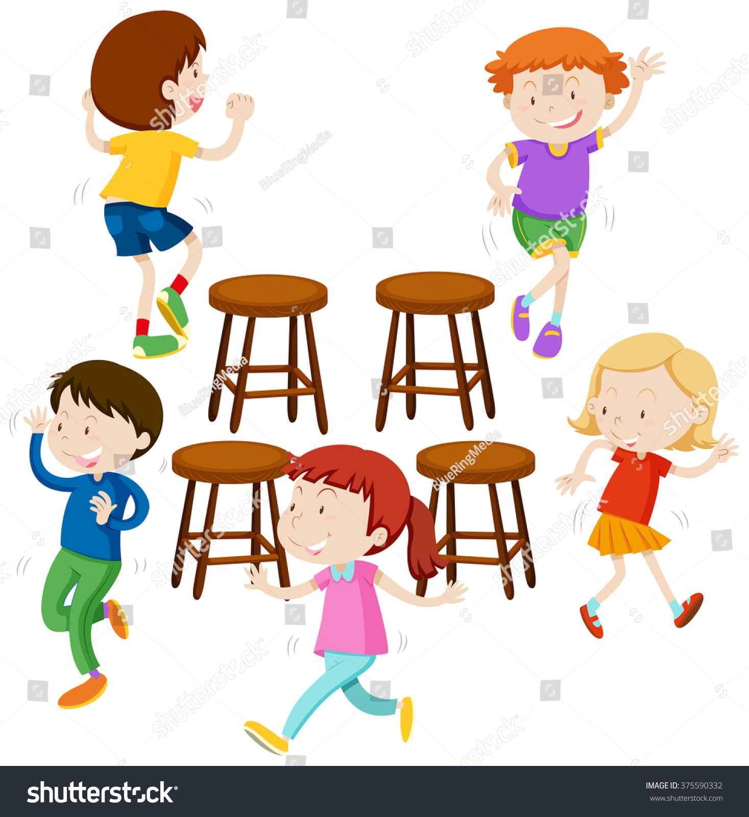 Music Chair Children Playing Music Chairs Illustration Stock Vector