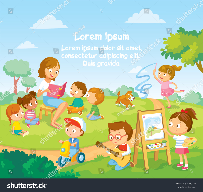 Childrens Activities Summer Camp Kids Park Stock Vector