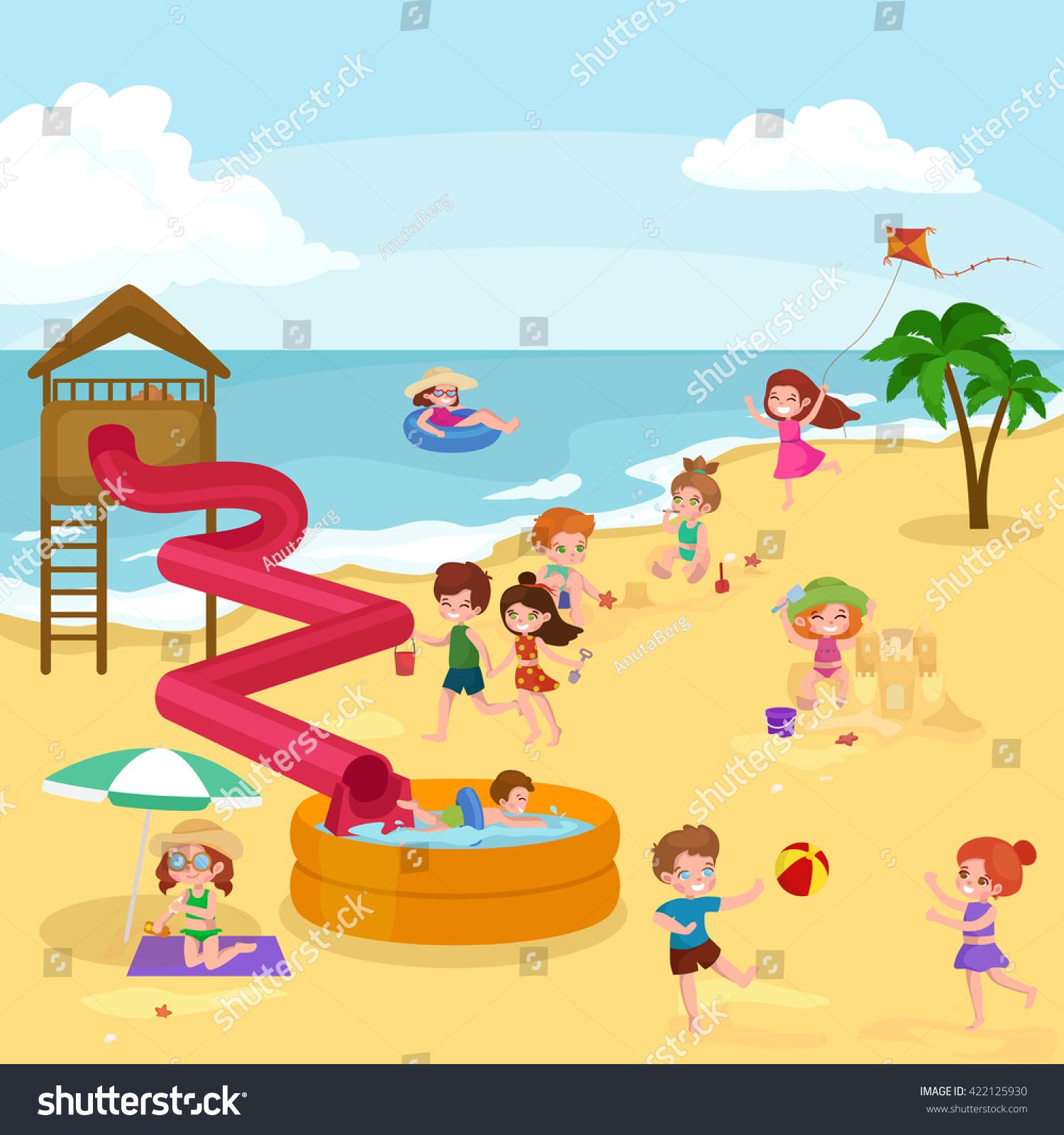 Children Summertime Vacation Parkkids Playing Sand Stock