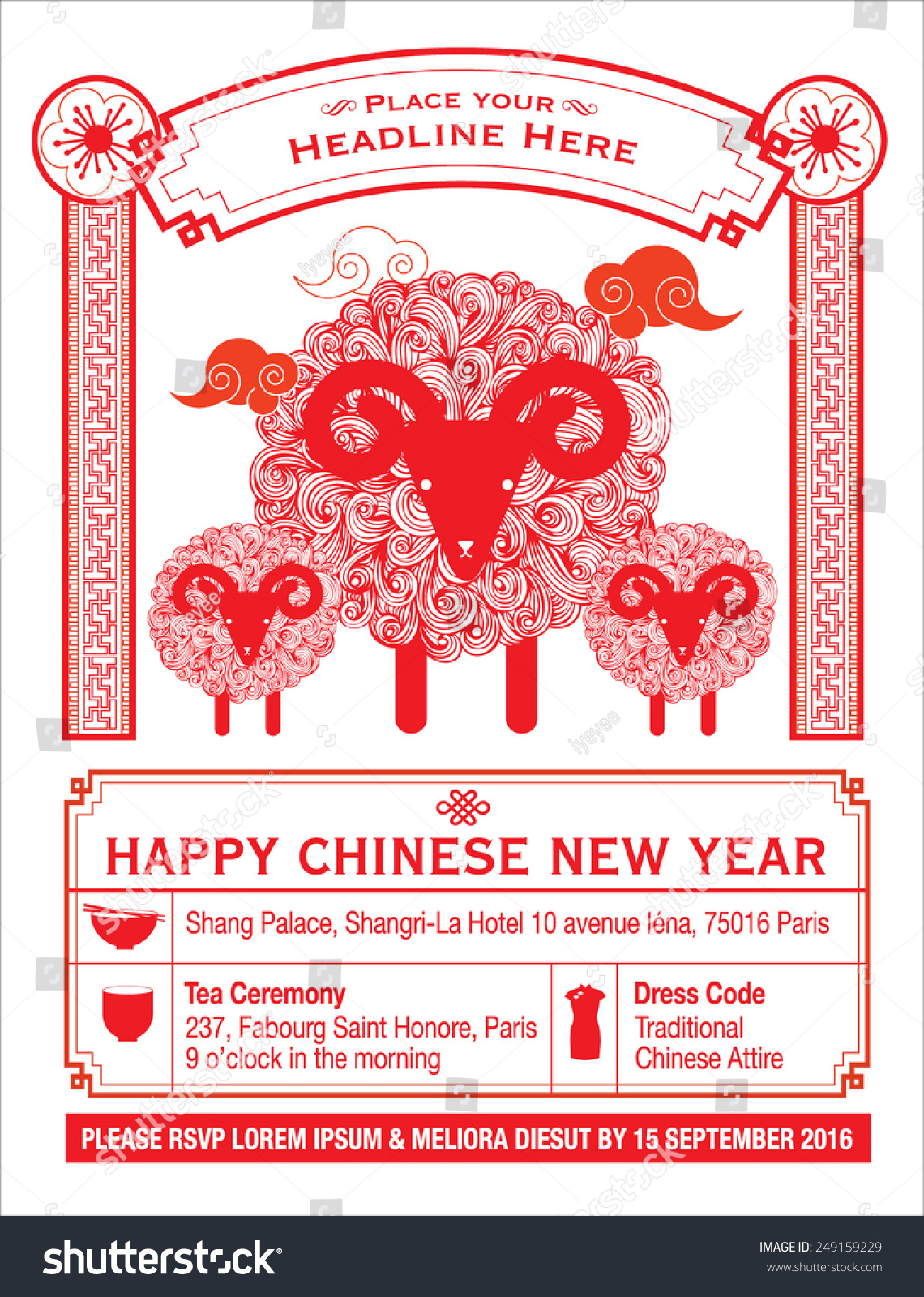 Chinese Calendar Chinese New Year Card Stock Vector ...