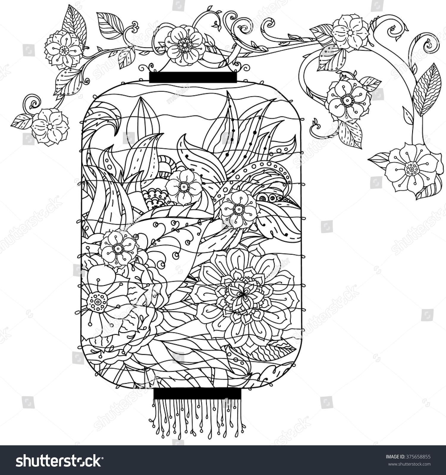 Chinese Lantern Hand Drawing Zentangle Interpretation