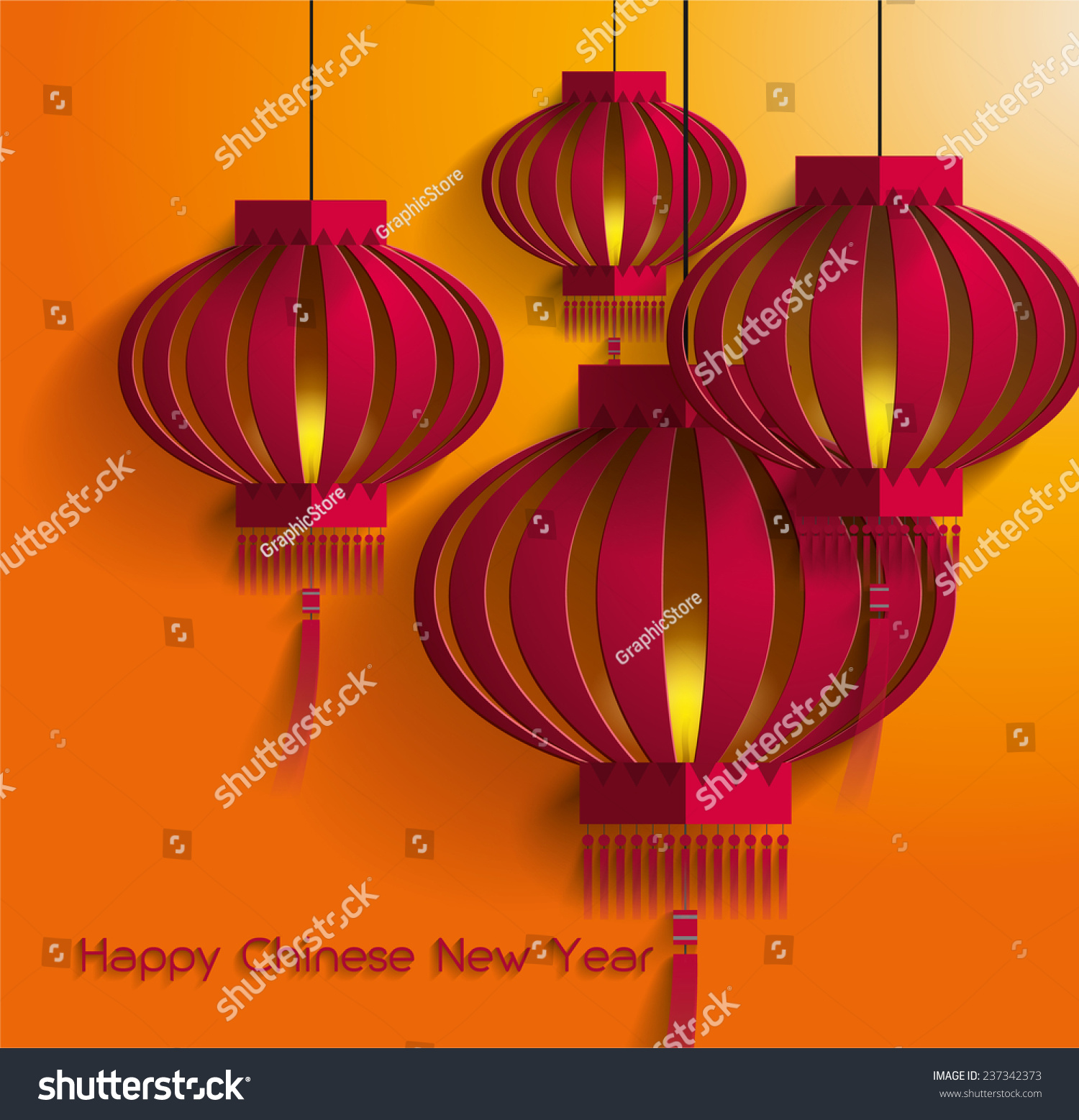Chinese New Year Lantern Template Vector Stock Vector