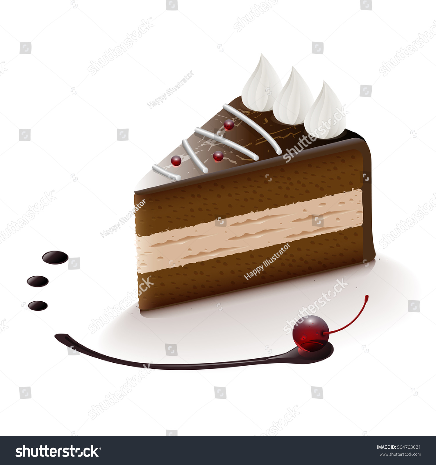 hight resolution of chocolate cake slice vector clip art illustration