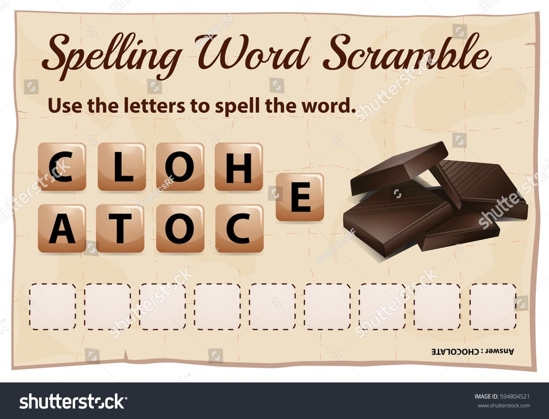 Chocolate Scramble Word Game Stock Vector