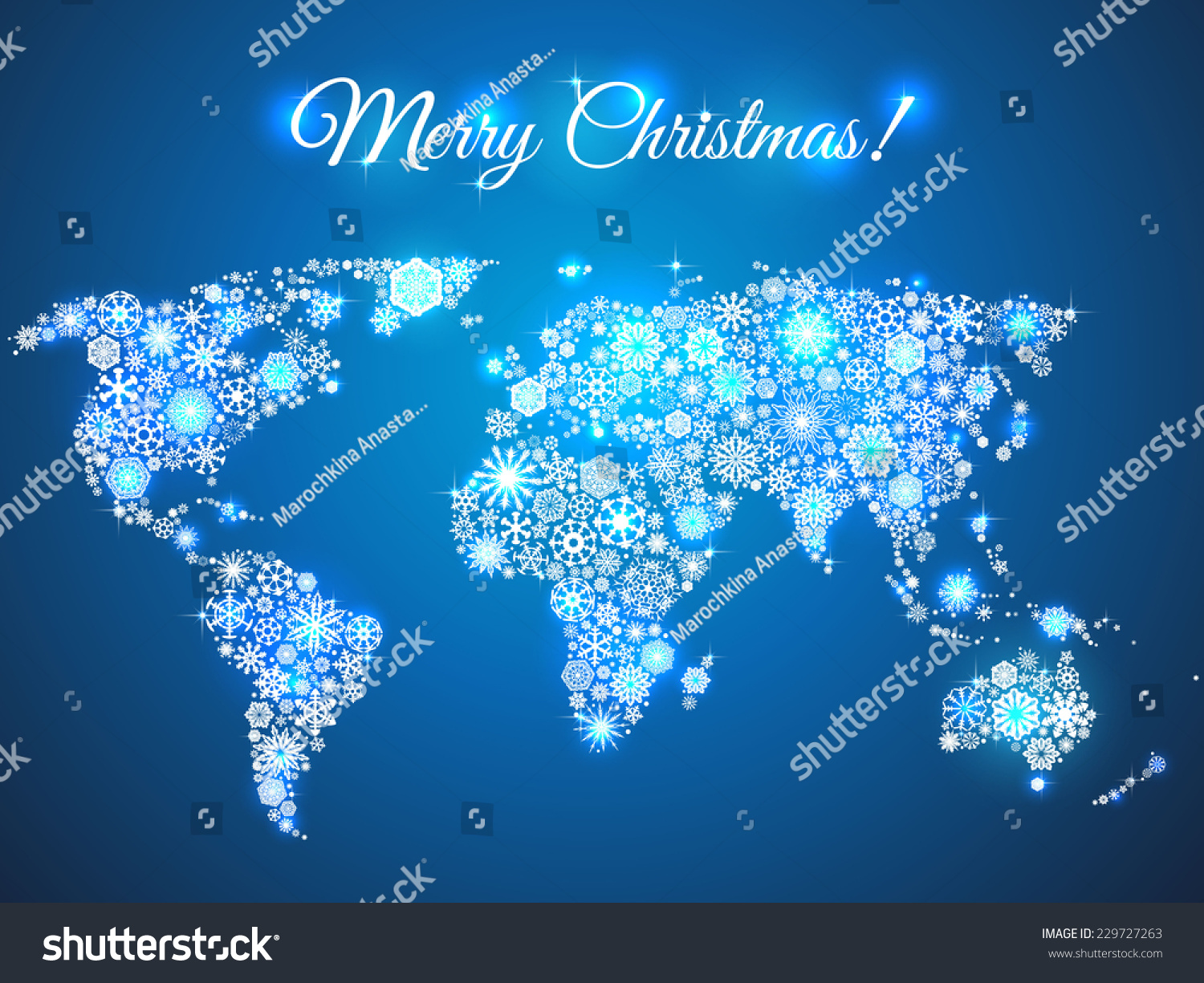 Christmas Background Snowflakes World Map For The New