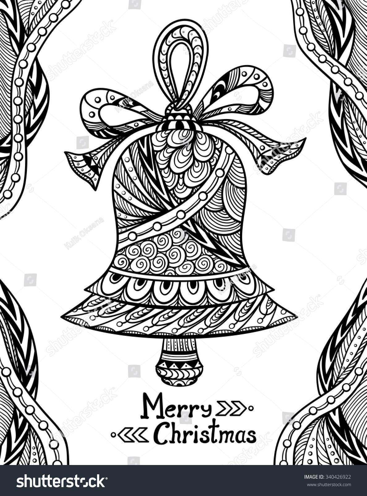 Christmas Bell Zendoodle Style Black On Stock Vector