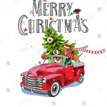 Christmas Card Red Retro Truck Fir Stock Vector Royalty Free 705364852