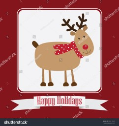 christmas card vector clipart illustration festive reindeer greeting postcard design with stripe and  [ 1500 x 1600 Pixel ]