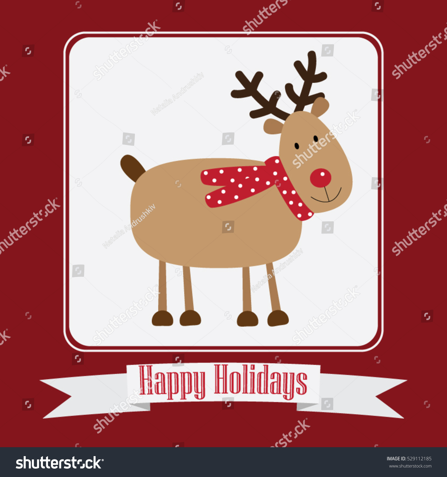 hight resolution of christmas card vector clipart illustration festive reindeer greeting postcard design with stripe and