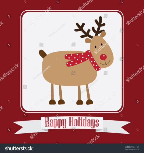 small resolution of christmas card vector clipart illustration festive reindeer greeting postcard design with stripe and