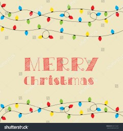 christmas card vector clipart illustration festive winter greeting postcard design with christmas lights and  [ 1500 x 1600 Pixel ]