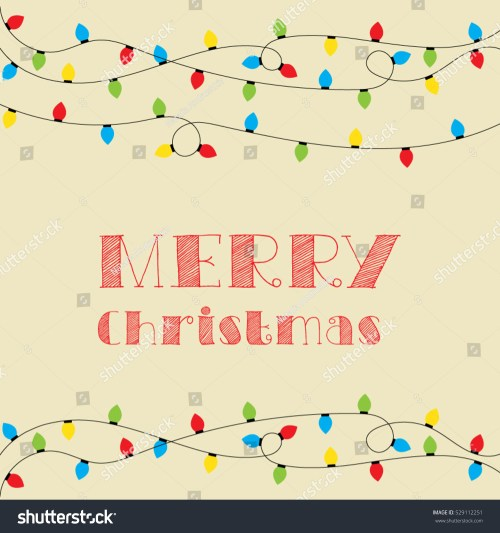 small resolution of christmas card vector clipart illustration festive winter greeting postcard design with christmas lights and