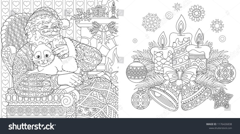 christmas colouring pages coloring book adults stock vector (royalty