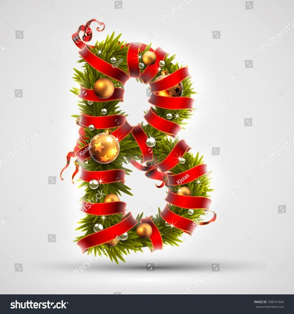 Christmas Font Letter B Christmas Tree Stock Vector ...