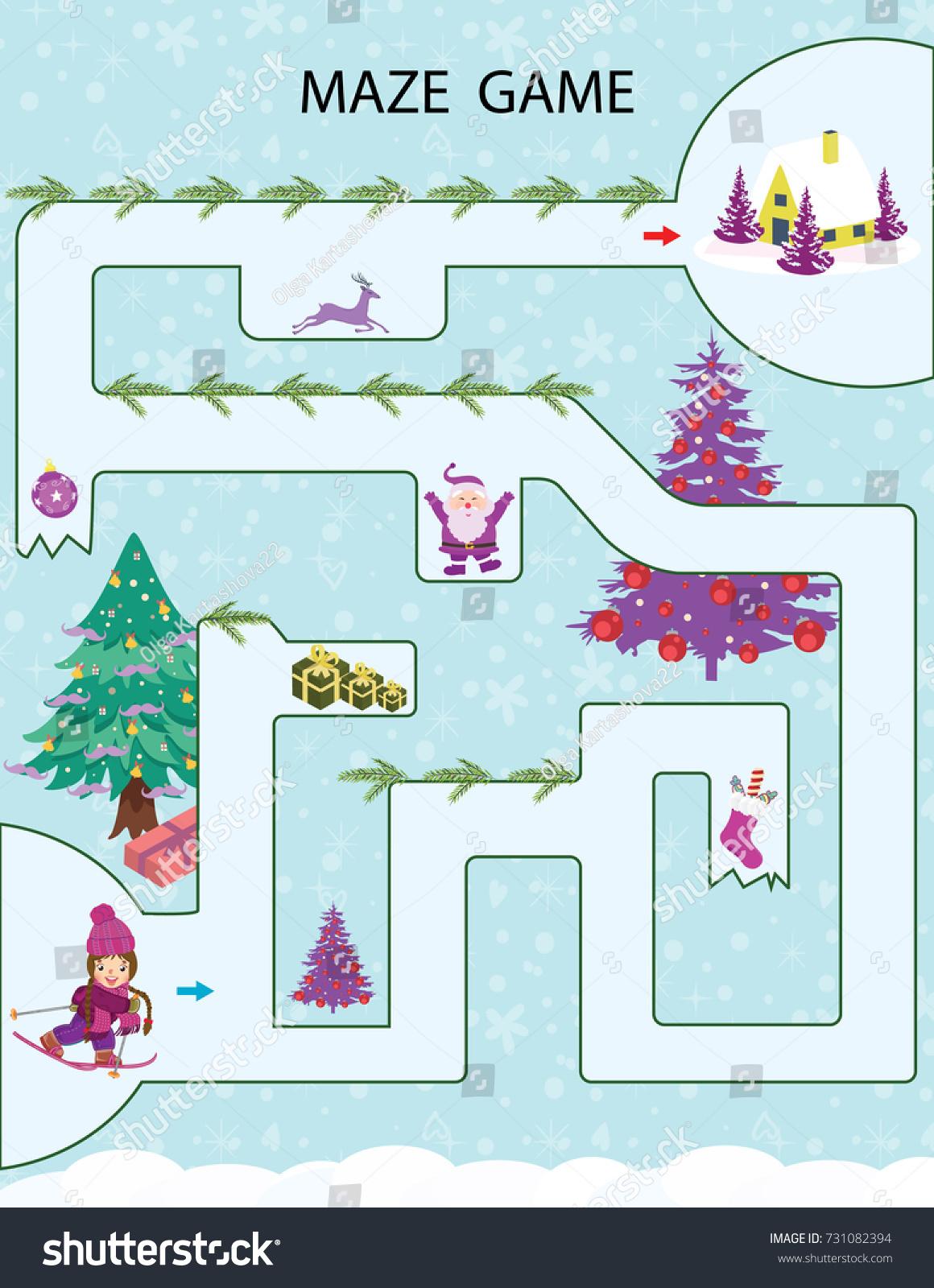 Christmas Kids Printable Game Vector Illustration Stock