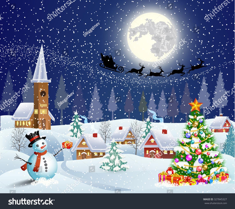 Christmas Landscape Christmas Tree Snowman Gifbox Stock