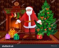Christmas Living Room Interior Xmas Tree Stock Vector ...