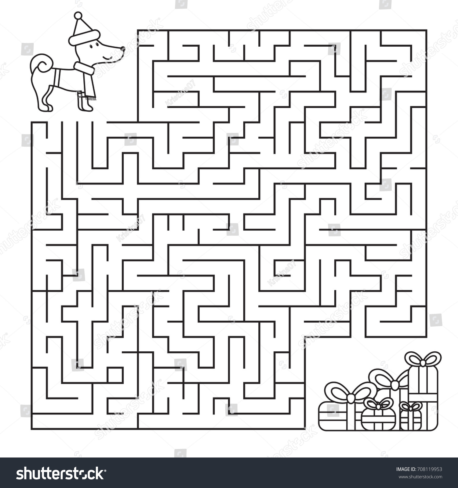 Christmas Maze Coloring Page