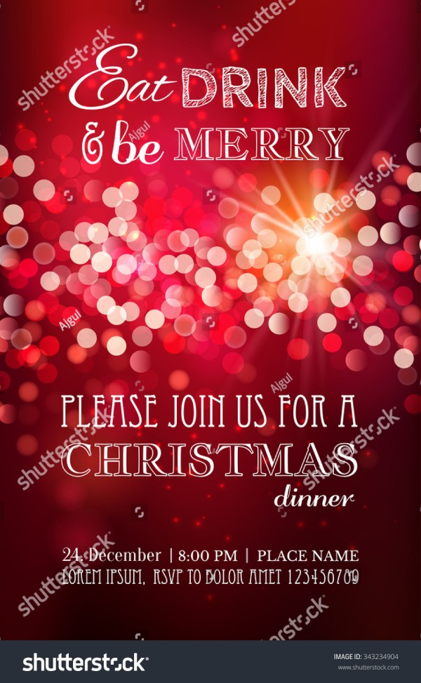 Christmas Party Dinner Invitation Poster Flyer Greeting Card Menu Design Template. Vector