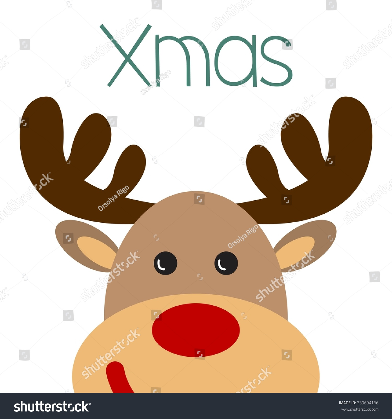 Christmas Poster With Reindeer Face Christmas Poster