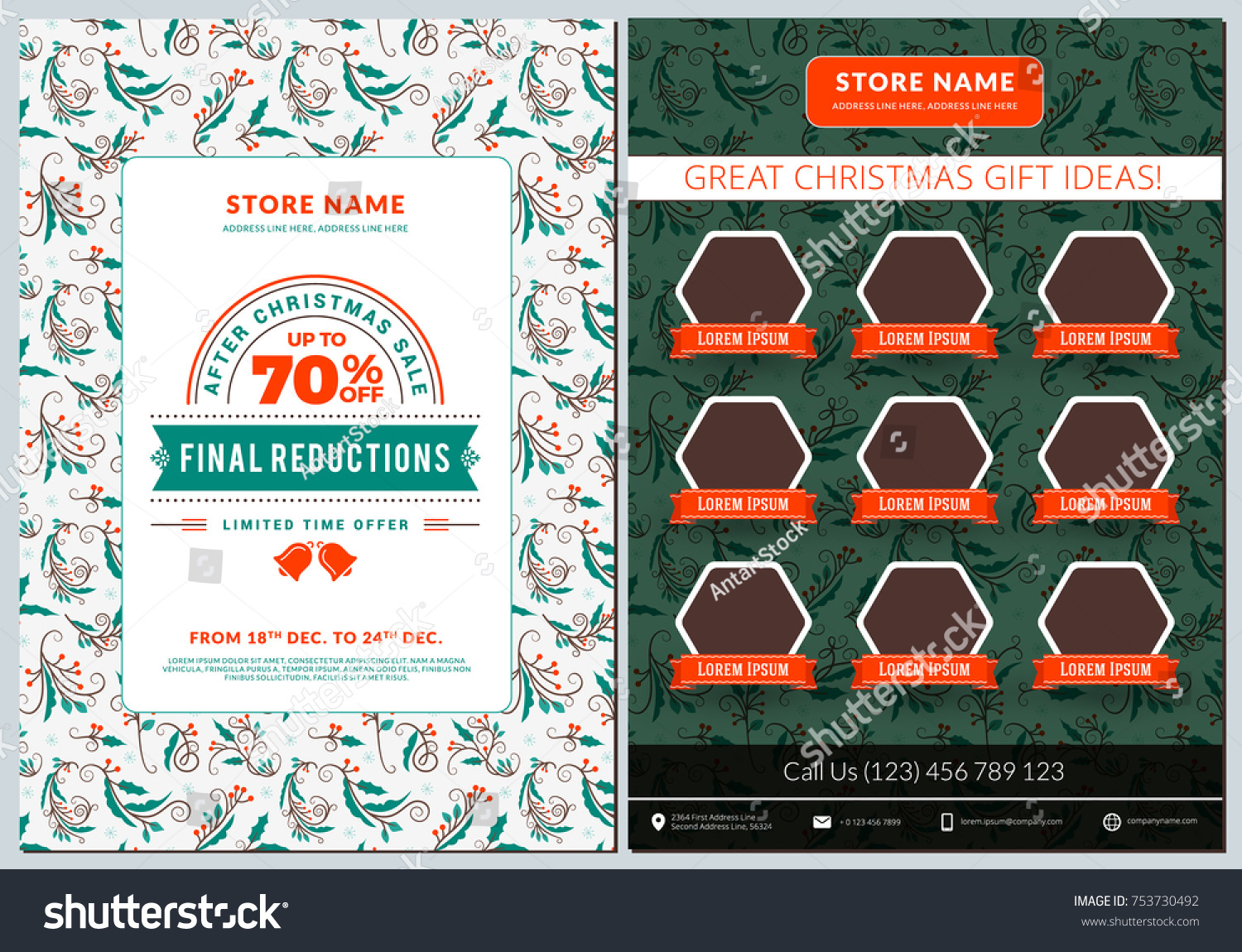 Business Flyer Template. Vintage Badge With Winter Background