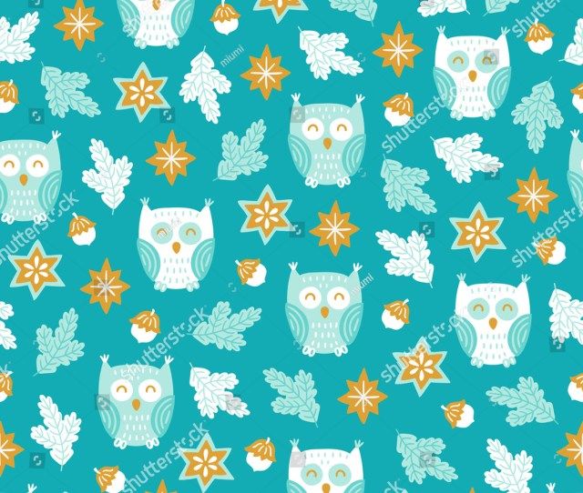 Christmas Seamless Pattern With Star Fir Branches Owl Acorn On Blue Background
