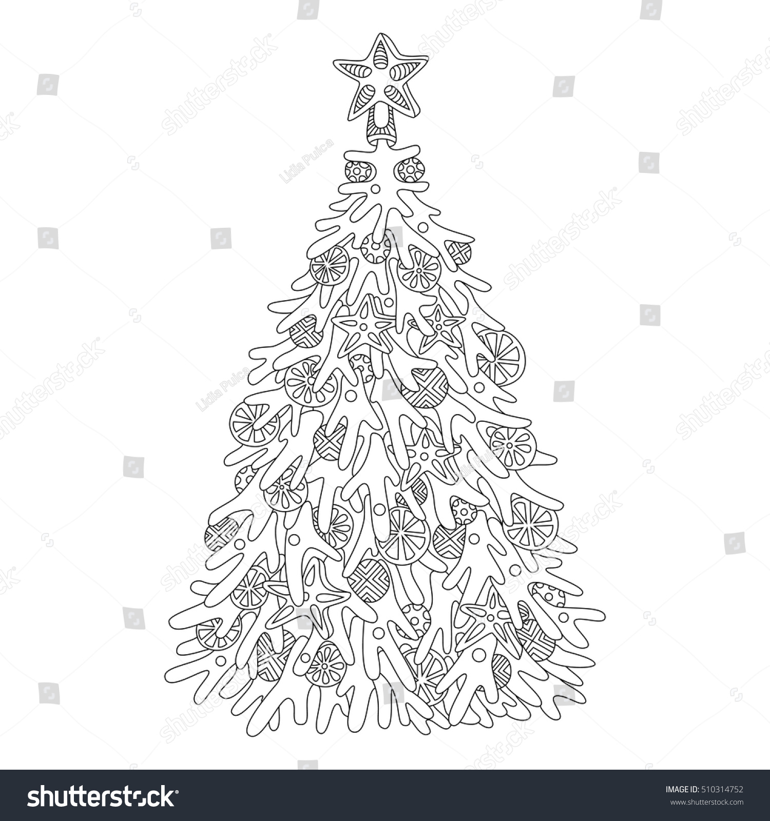 Christmas Tree Adult Coloring Page Adults Stock Vector 510314752
