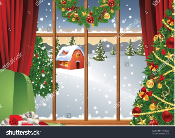 Christmas Window Stock Vector 64092853 - Shutterstock