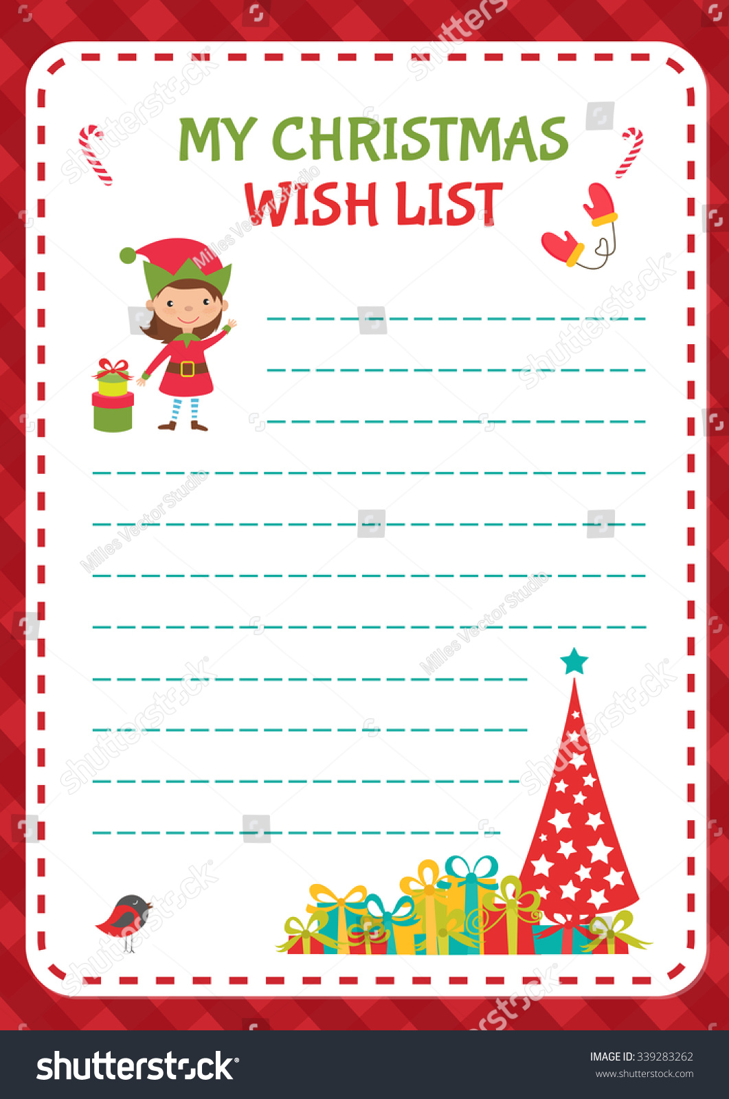 Christmas Wishlist Template Vector Illustration Stock