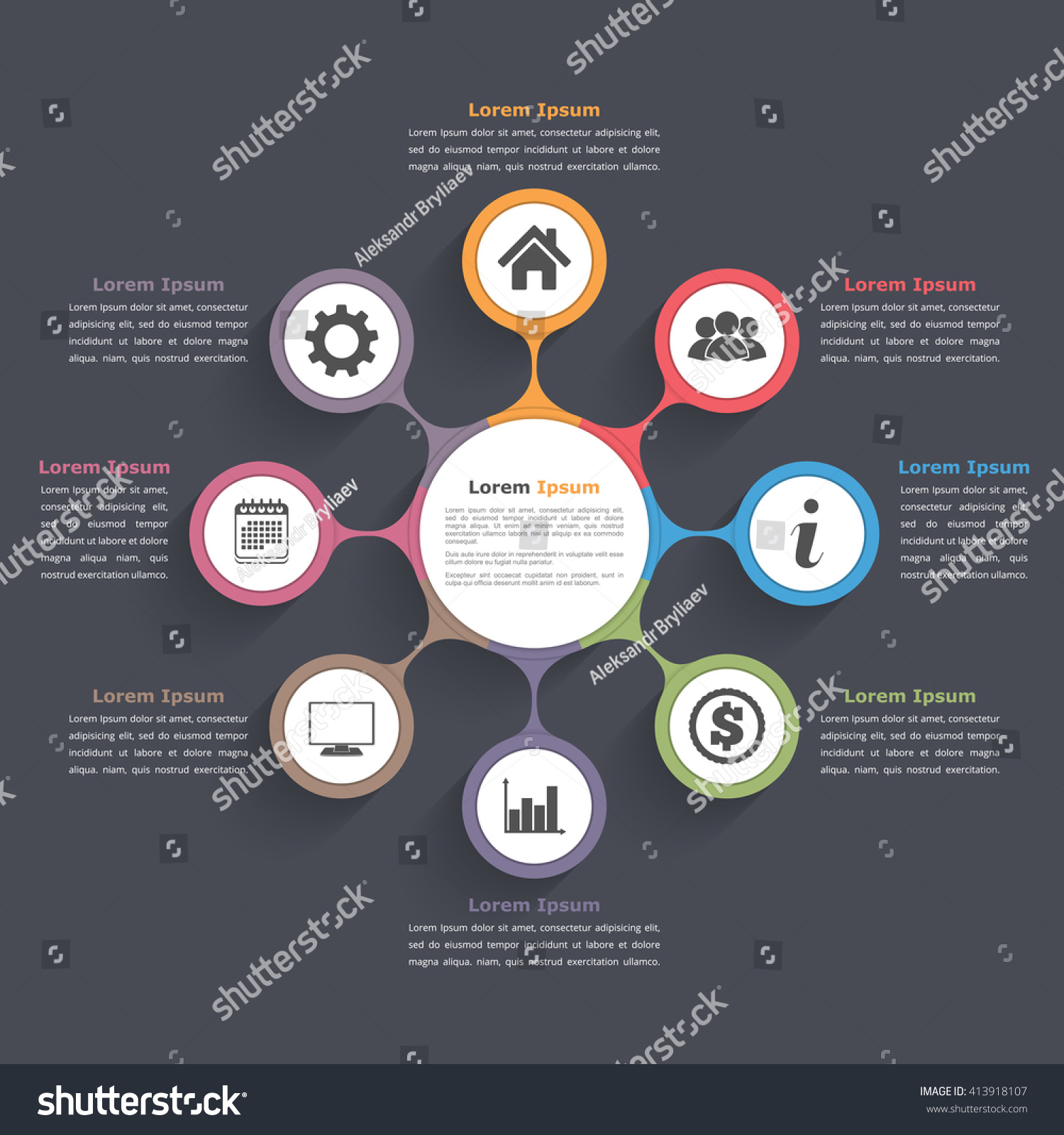 circular diagram flow chart template red arc dual battery isolator wiring circle infographics eight elements icons stock