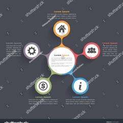 Circular Diagram Flow Chart Template 1 Phase Contactor With Overload Wiring Circle Infographics Five Elements Icons Stock