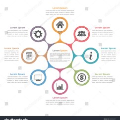 Circular Diagram Flow Chart Template How To Tie A Bow Step By Circle Eight Elements Icons Text Stock Vector