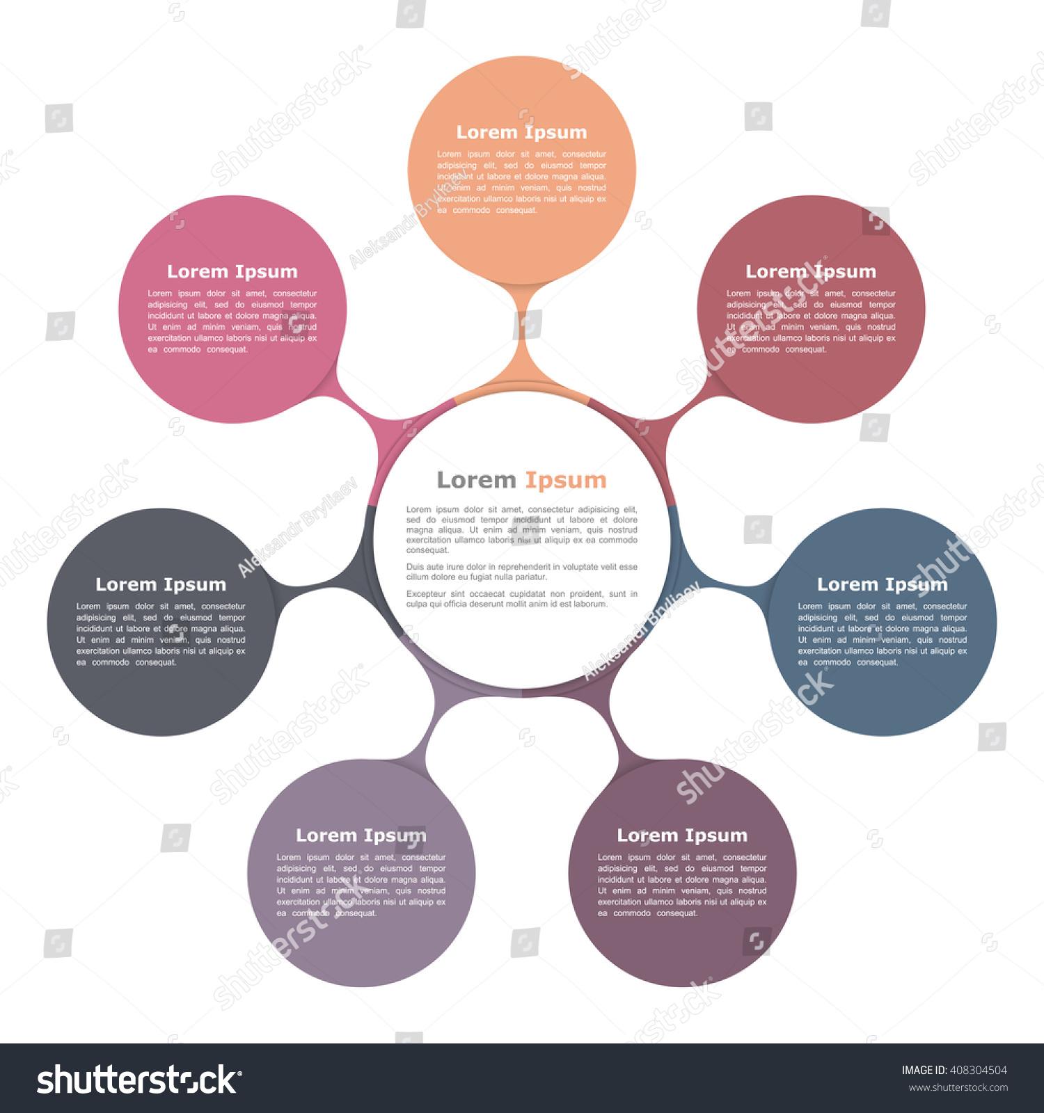 circular diagram flow chart template 30 amp relay wiring circle seven elements stock vector