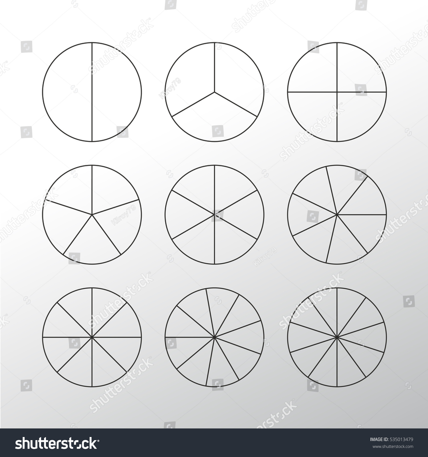 Circle Segments Set Various Number Sectors Stock Vector