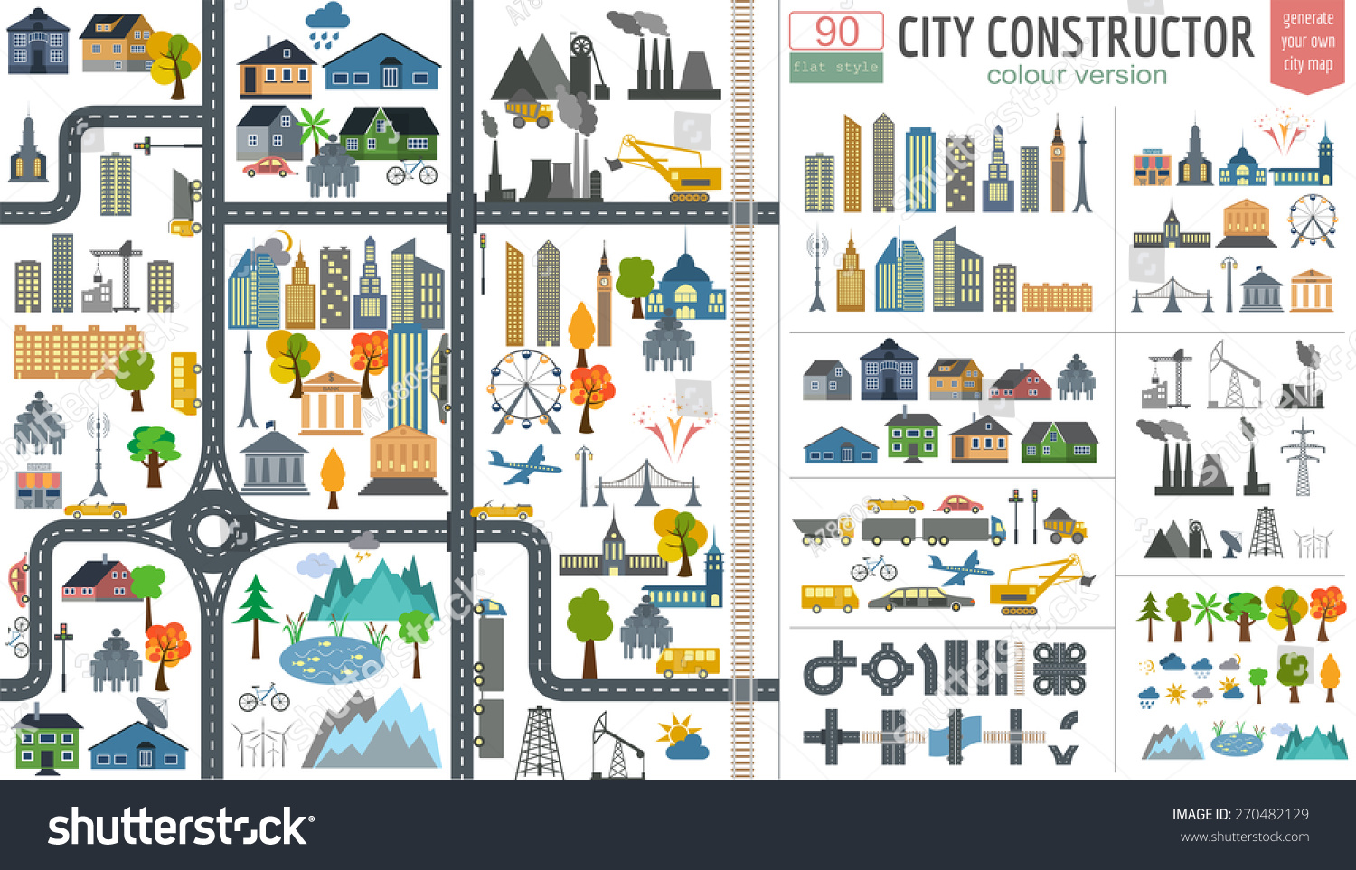 City Map Generator City Map Example Stock Vector