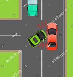 clash of cars on t junction flat vector illustration road rules violations example on  [ 1050 x 1600 Pixel ]
