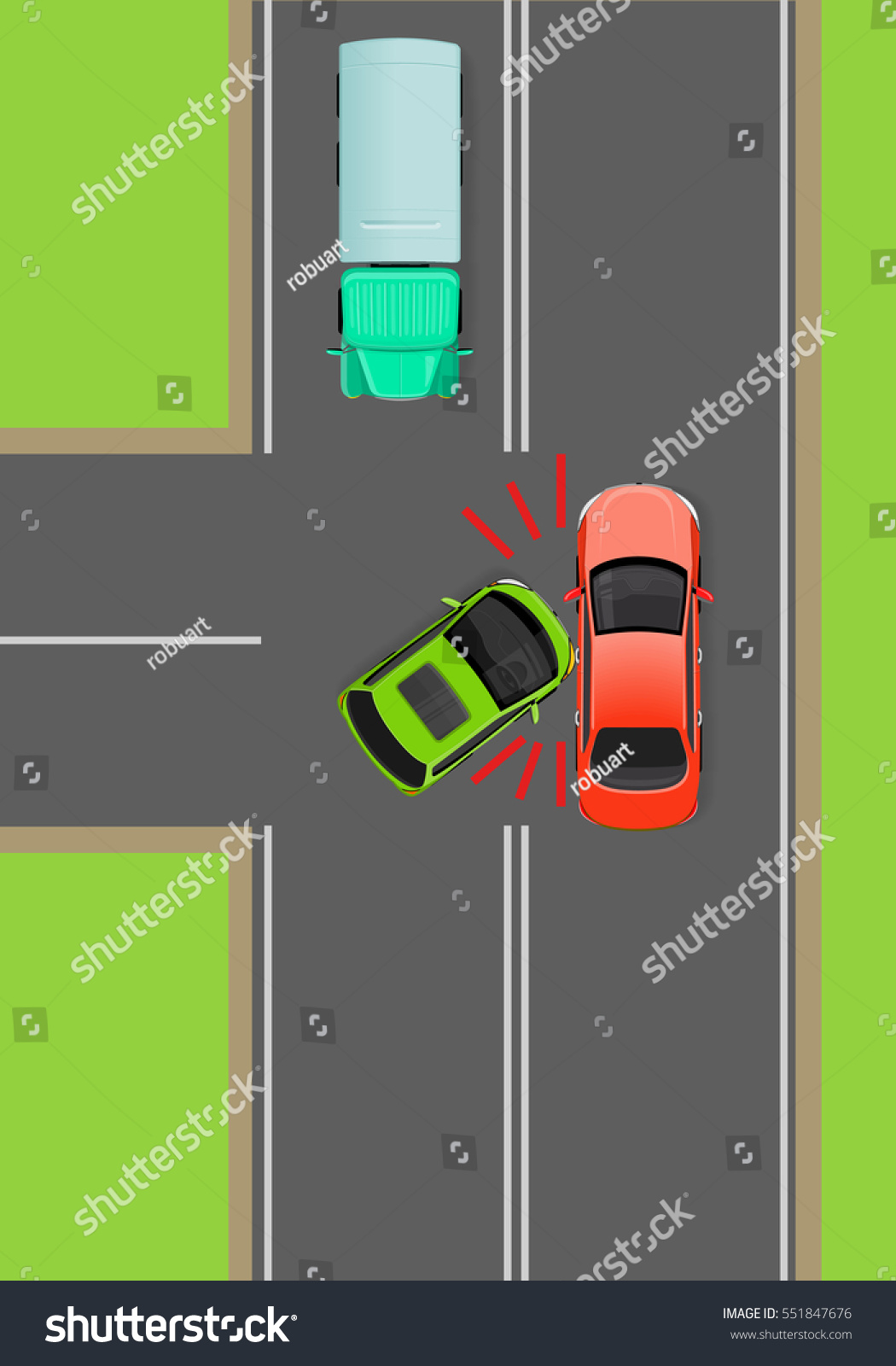 hight resolution of clash of cars on t junction flat vector illustration road rules violations example on