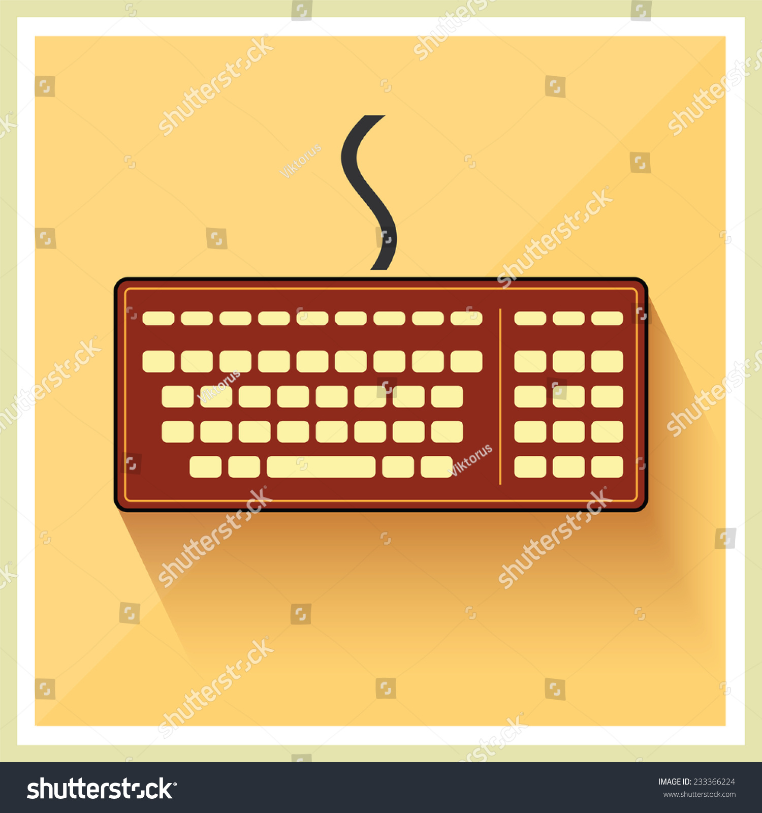 hight resolution of classic computer keyboard on retro background vector
