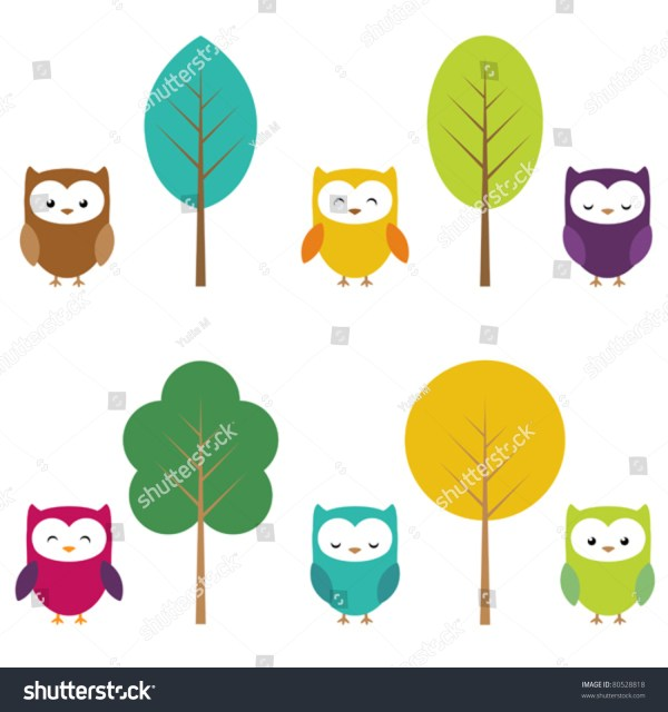Clip Art Of Owls And Trees Stock Vector Illustration 80528818 Shutterstock
