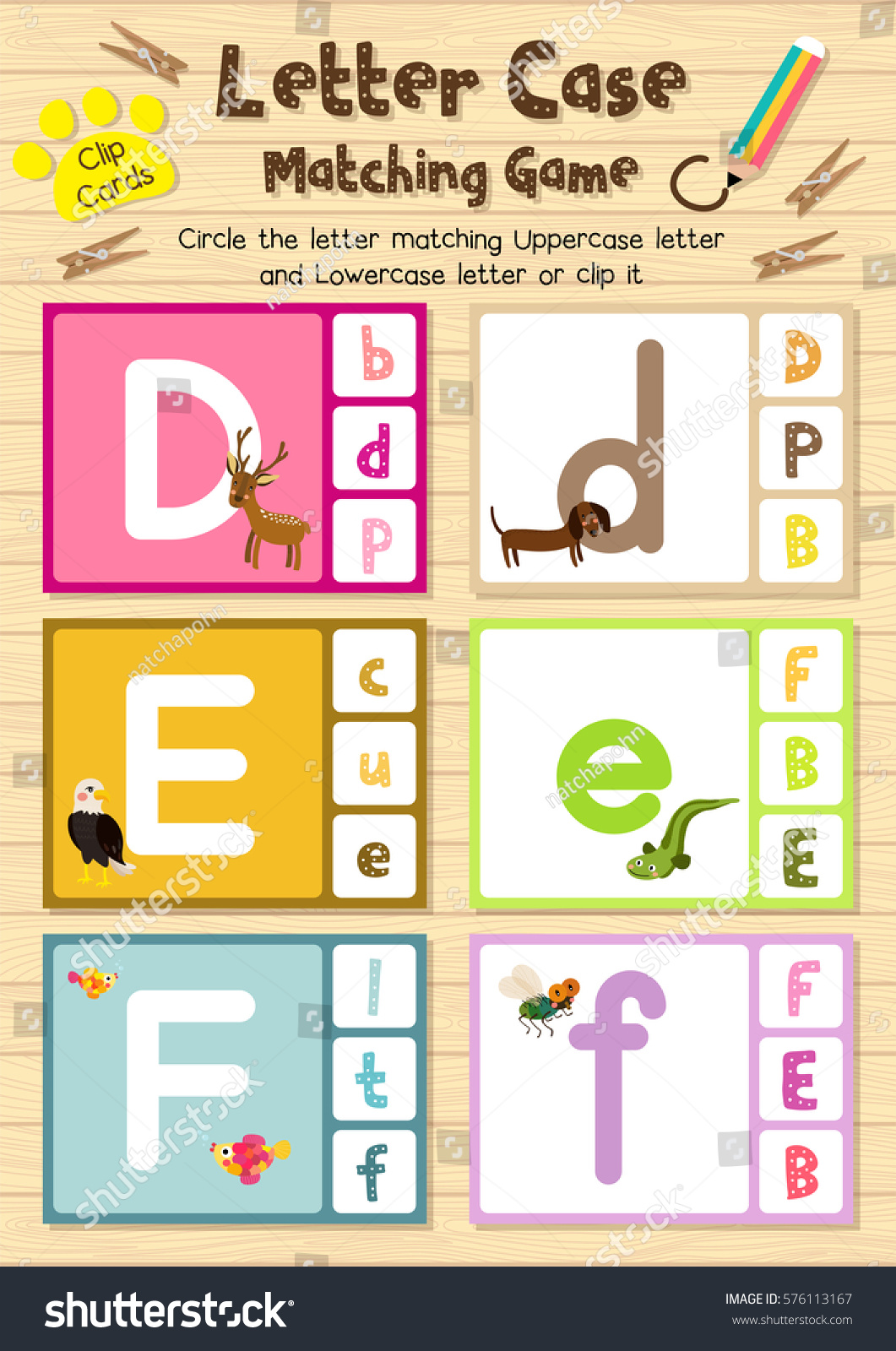 Clip Cards Matching Game Letter Case Stock Vector