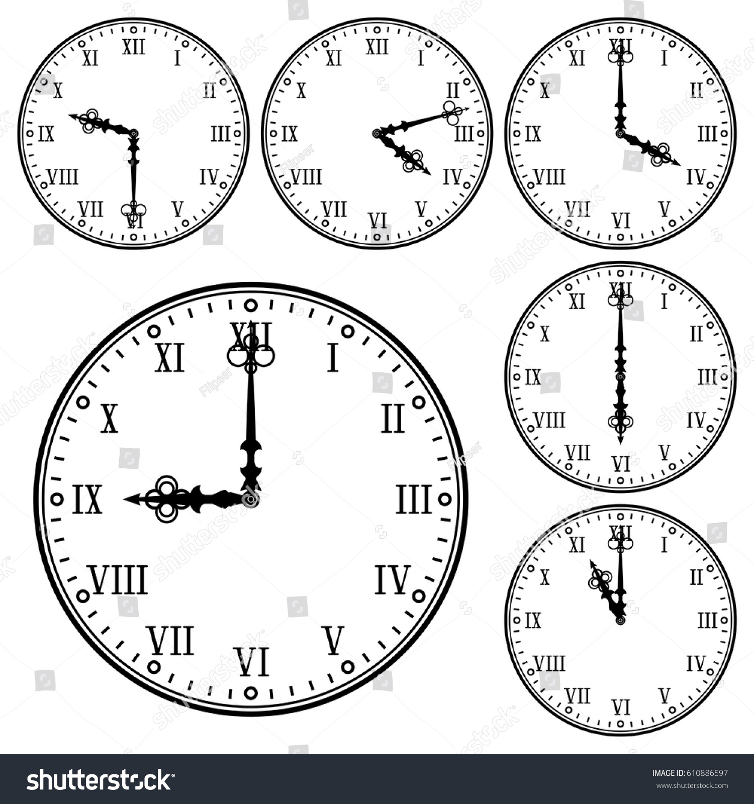 Clock Roman Numerals Collection Different Time Stock