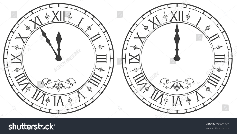 Clock Roman Numerals New Year Midnight Stock Vector
